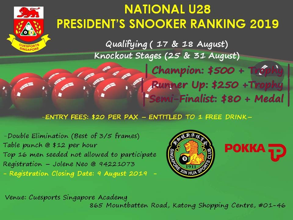 Cuesports Singapore – National Sports Association (Main Body